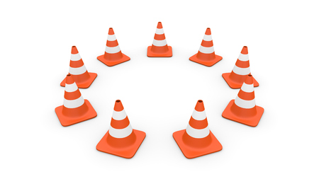 Nine traffic cones arranged in a circle