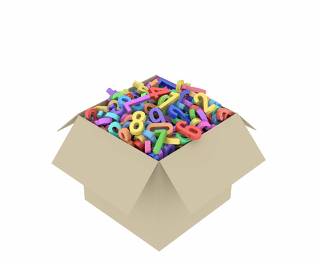 a cardboard box filled with colored numbers