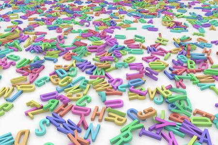 Hundreds colored alphabet letters