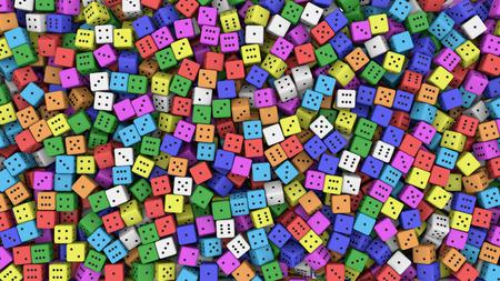 Tens of random color dice. 3D rendering
