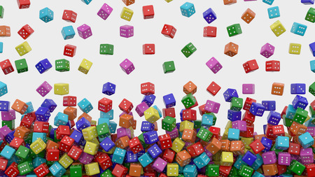 Colored dice falling from above. 3D rendering