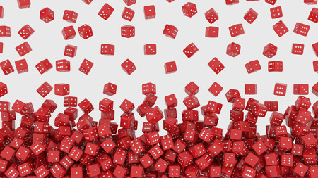 Red dice falling from above. 3D rendering