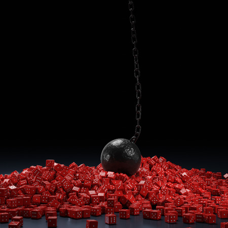 falling cubes: 3d rendering of a dice wall demolished by a wrecking ball