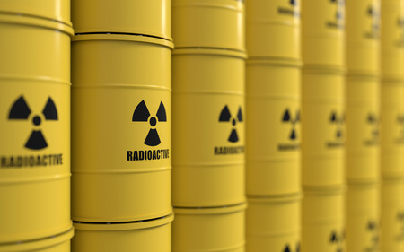 3D rendering of yellows barrels containing radioactive material