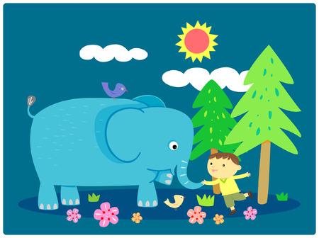 feel good: boy touch trunk of an elephant, illustration Illustration