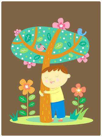 boy hug tree, illustration Vector