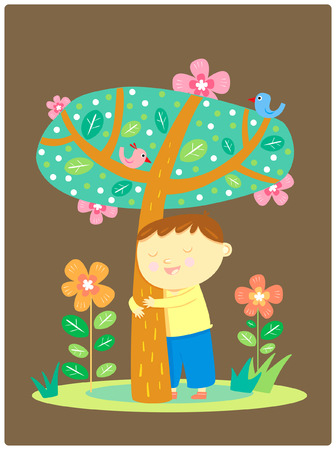 plant stand: boy hug tree, illustration