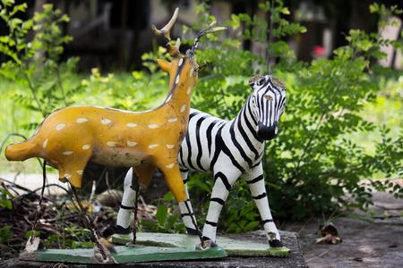 head stones: Zebra and Deer sculpture in Thai temple