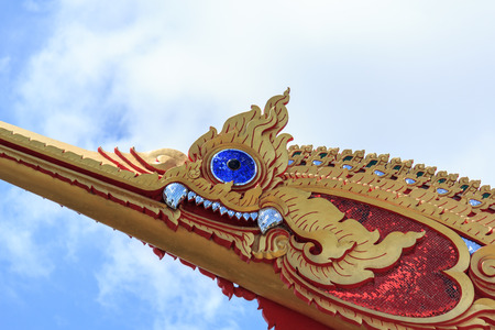The Royal Barge Suphannahong,Thai Golden Swan,  Thai temple in Nonthaburi province