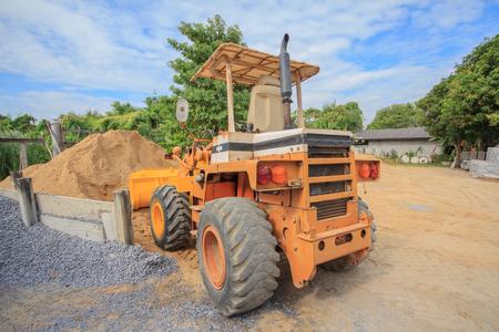 basurero: Tractor amarillo Construct cargador de la vendimia, cargador de arena