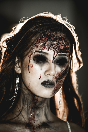The bride turned into a zombie And staring with huge resentment. Stock Photo