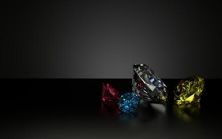 Multiple color diamons on black shiny background table, 3d Model, 3d Illustration. Stock Illustration - 98444240