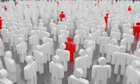 Social distance concept. Too many people with infected man symbolizing a contagious epidemic of Covid-19, 3d rendering