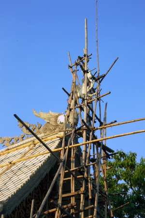 Gable apex under construction, Thailand.  Stock Photo - 12375241