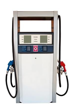 surtidor de gasolina: Boquillas de gas de la bomba en una estación de servicio Foto de archivo