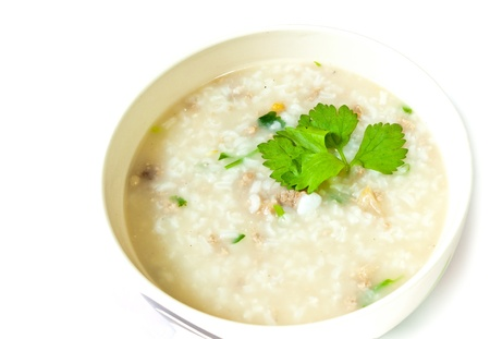 Thai style  of  rice gruel in bowl  Banco de Imagens