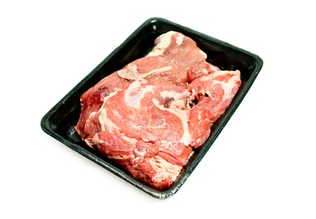 fresh beef plastic plate from supermarket photo
