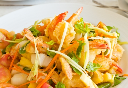 Spicy Shrimp Salad thai style food  photo