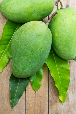 Fresh mango on wood background photo