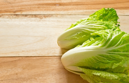Chinese cabbage on wood background