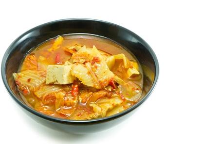 Korean food, kimchi stew  on white background Banco de Imagens