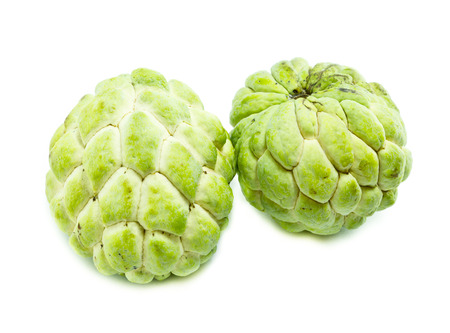 annona squamosa: Custard apple fruit,Annona squamosa on white background, Tropical fruit