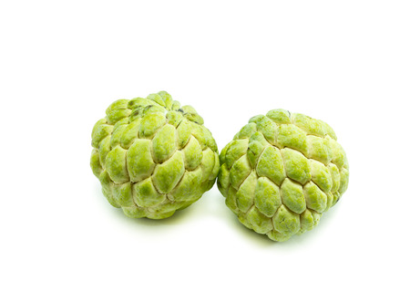 annona: Custard apple fruit,Annona squamosa on white background, Tropical fruit