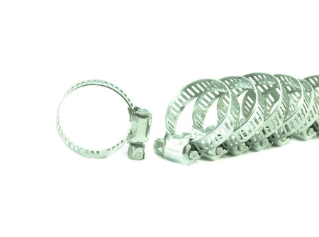 worm gear: metal hose clamp on white background Stock Photo