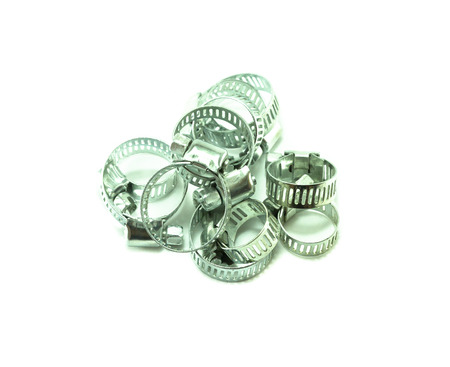 worm gear: metal clamp on white background
