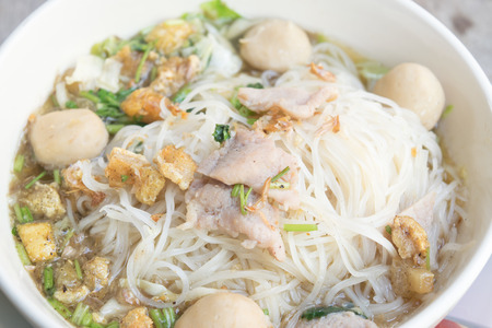 thai noodle soup: Close up thai noodle soup,  famous food northern style