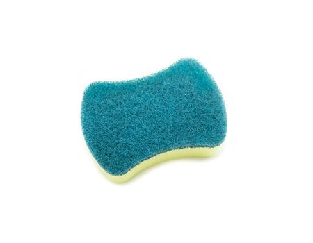 lavar platos: Sponges for dishwashing on white background, Scotch Brite dishwashers Foto de archivo