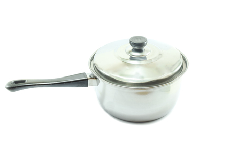stainless steel pot: Stainless Steel pot  with handle on white background Stock Photo