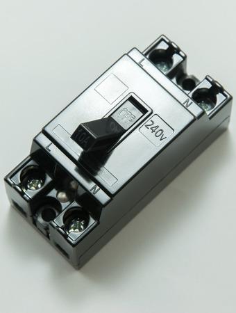 breaker: close up of safety breaker, Circuit breaker Stock Photo