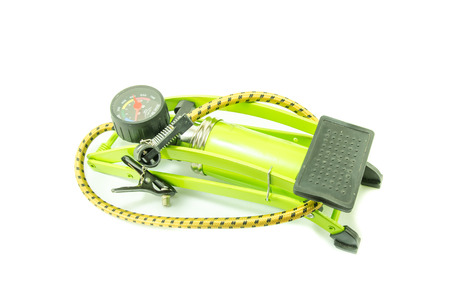 Green foot air pump on white background