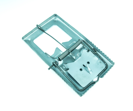 Metal mousetrap on white background