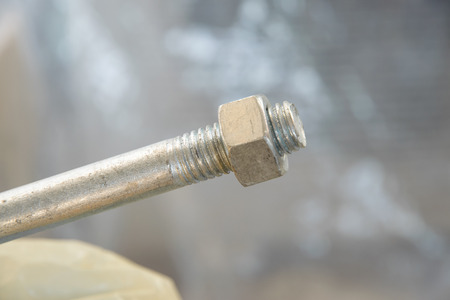 Close-up of threaded metal rod, Galvanized threads rod