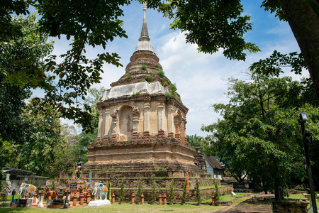 Ancient pagod at Wat Chet Yot,  old buddhist temple in Chiang Mai in northern Thailand Banco de Imagens