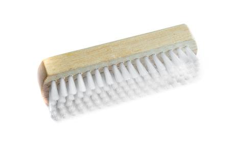 wooden clothes brush on white background, washing brush Banco de Imagens