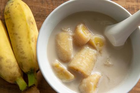 Thai Banana in Coconut Milk. Traditional dessert of  Thailand.