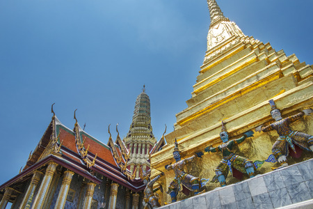 Wat phra kaew, the most famous public temple in Bangkok, Thailand