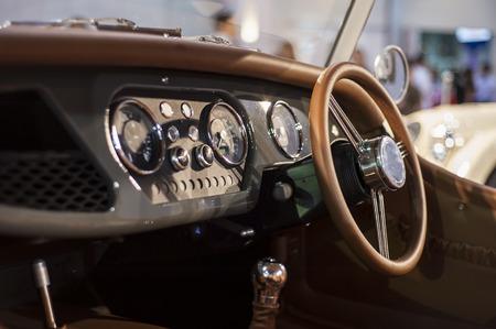 inwards: car Interior - steering wheel, shift lever and dashboard