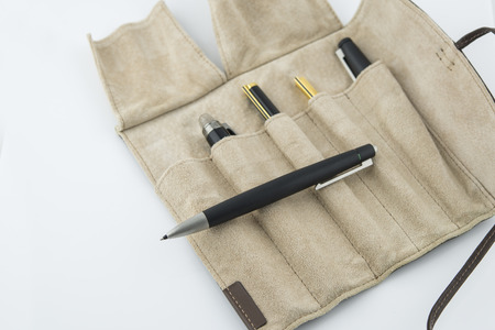 Ballpoint Pen and leather case over white background.