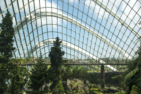 SINGAPORE, MARCH 26,2017 : The Cloud Forest dome at the Gardens by the Bay, Singapore.