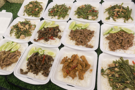 Thai food in in foam box. Thai street food. Stock Photo