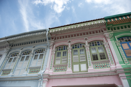 SINGAPORE: Colorful peranakan heritage house, Joo chiat road, Singapore Archivio Fotografico
