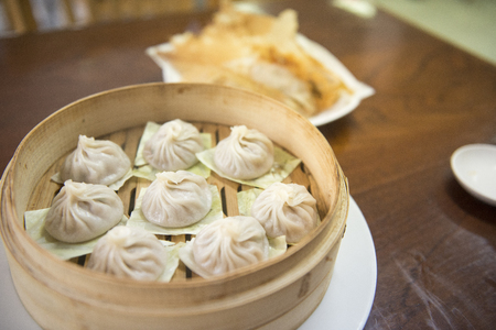 Streamed Pork Dumplings Chinese food (Xiao Long Bao) Zdjęcie Seryjne - 90949095