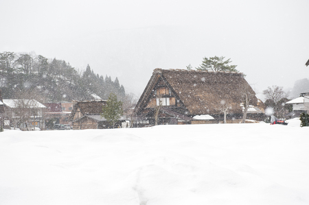 Historical Japanese Village that be covered by snow. Shirakawa-go is declared a UNESCO world heritage site in 1995, they are famous for their traditional gassho-zukuri farmhouses. Editorial