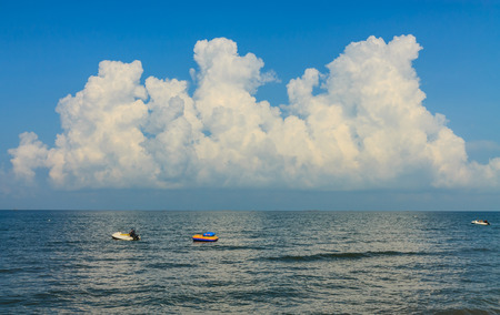 Ships at sea in the cloudy sky.Pattaya photo