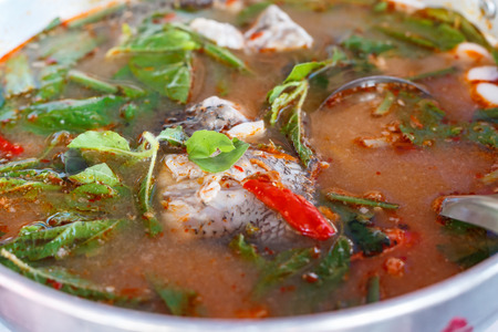 Tom yum soup with asian redtail catfish
