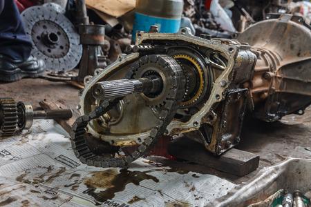 Damaged engines, repair service garage photo